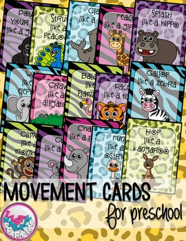 Zoo Animals Movement Cards for Preschool