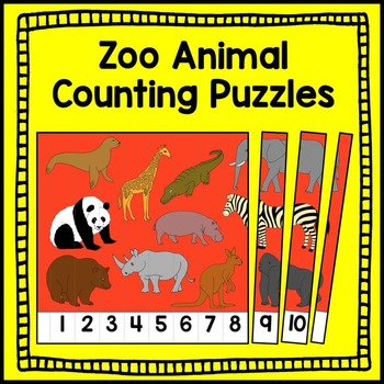 Zoo Animal Counting Puzzle Math Center