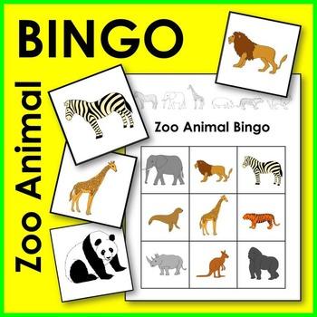 Zoo Animal BINGO Game Math Center