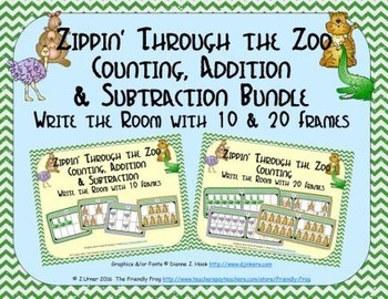 Zoo Count, Add & Subtract Bundle with 10 & 20 Frames {Subitizing}