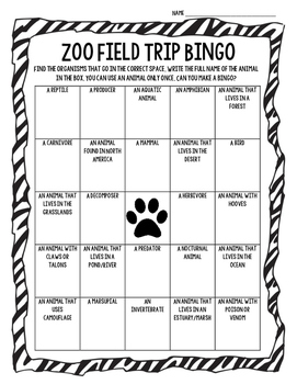 Zoo Field Trip Bingo