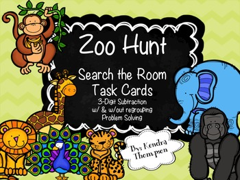Zoo Hunt Task Cards: 3-Digit Subtraction