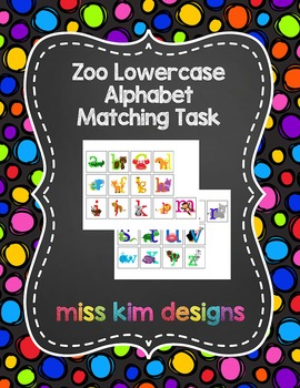 Zoo Lowercase Alphabet Matching Folder Game