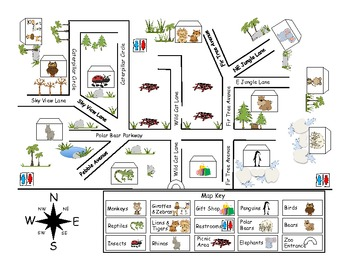 zoo map pack by first grade fanatics teachers pay teachers. Black Bedroom Furniture Sets. Home Design Ideas