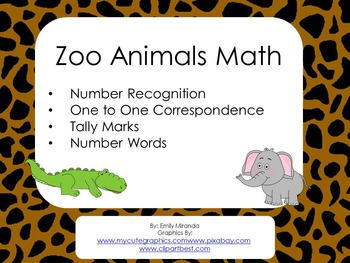Zoo Math Numbers, Counting, Matching Groups