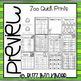 Zoo Quick Prints for Kindergarten : NO PREP