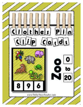 Zoo Themed Critter Clothes Pin Clip Cards ~ 0 to 20 ~ Fant