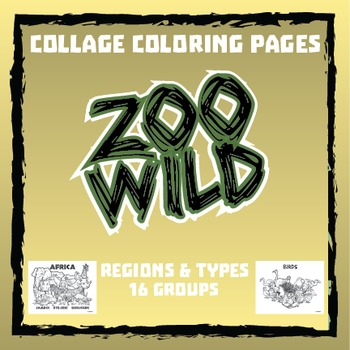 Zoo Wild Group Collage Coloring Pages -- Homeschool or Ele