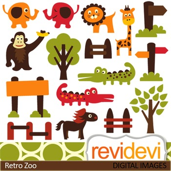 Zoo clip art, cute animals (elephant, giraffe, lion, croco
