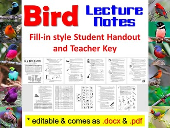 Zoology- Birds Student Notes Handout, Review Questions, an