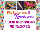 Zoology: Flatworms and Roundworms Student Notes Handout an
