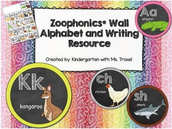 Zoophonics Alphabet, Word Wall Letters, and Writing Resource