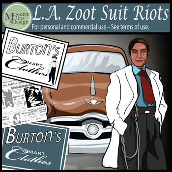 Zoot Suit Riot Clip Art - Los Angeles 1943 {Messare Clips
