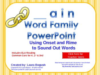 _ain Word Family PowerPoint  for K, 1st or 2nd Reading Pho