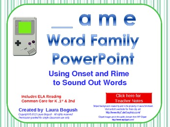 _ame Word Family PowerPoint  for K, 1st or 2nd Reading Pho