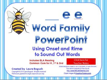 _ee Word Family PowerPoint  for K, 1st or 2nd Reading Phon