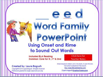 _eed Word Family PowerPoint  for K, 1st or 2nd Reading Pho