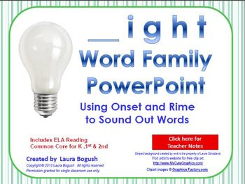 _ight Word Family PowerPoint  for K, 1st or 2nd Reading Ph