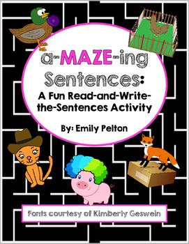 a-MAZE-ing Sentences: A Fun Read-and-Write-the-Sentences Activity