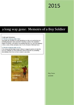 a long way gone:  Memoirs of a Boy Soldier Figurative Language