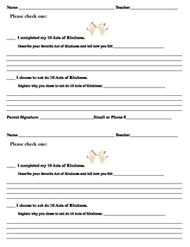 acts of kindness student form