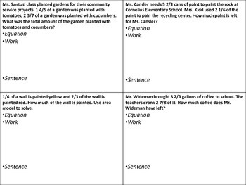 adding & subtracting fractions poster worksheet