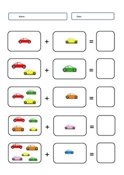 addition worksheet cars theme