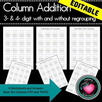 addition 3 and 4 digit addition with answers and grids EDI