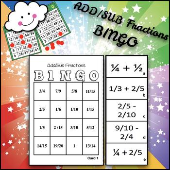 add and subtract fractions bingo