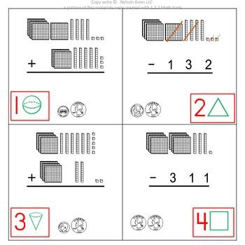 1st Grade & 2nd Grade Math Calendar - add & sub, money, 2D