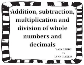 addition, subtraction, multiplication, division of whole n