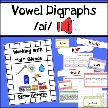 """Vowel Digraphs Activity Unit for """"ai"""" words"""