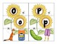 alphabet 3-part sunflower matching cards with bonus