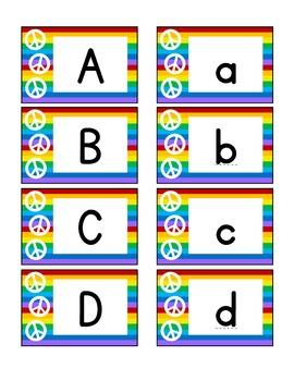 alphabet and numeral cards: rainbow with peace sign theme
