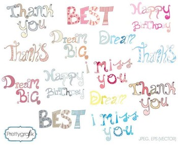 alphabet word art clipart, commercial use, vector graphics