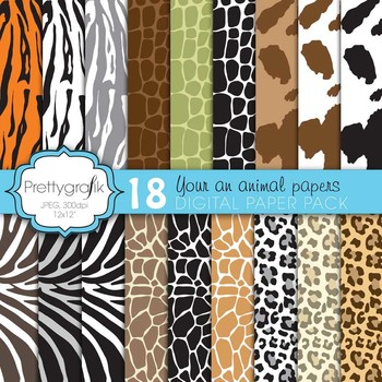 animal print digital paper, commercial use, scrapbook pape