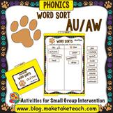 au aw Word Sort- File Folder Word Sorts