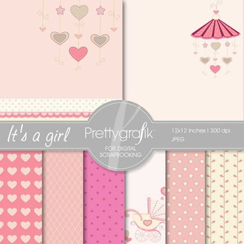 baby girl digital paper, commercial use, scrapbook papers,