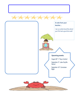 beach themed  classroom newsletter