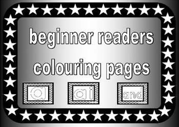 beginner readers colouring pages, preschool, prek, recepti