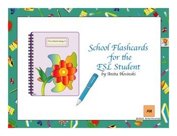 bilingual spanish flashcards for the ESL student school items