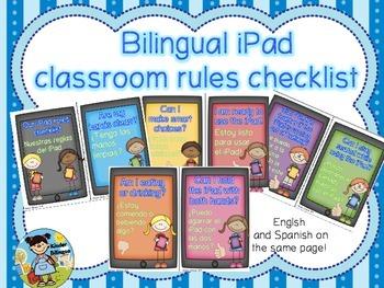 Bilingual iPad classroom rules  (English and Spanish)