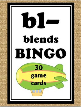 bl- blends BINGO + 12 bonus pages of bl- vocabulary words