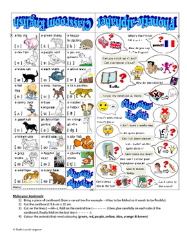 bookmark, phonetic animals and classroom english