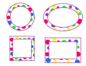 bright polka dot labels--pink accent (circle, oval, rectan