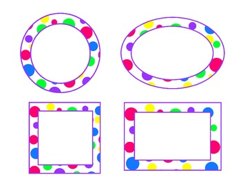 bright polka dot labels-purple accent (circle, oval, recta