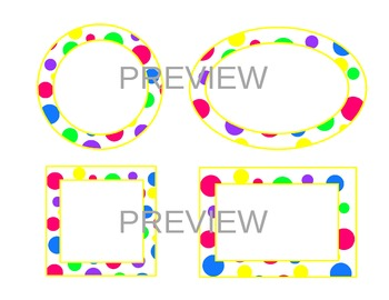 bright polka dot labels-yellow accent (circle, oval, recta