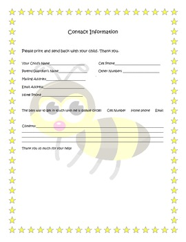 bumble bee themed parent contact