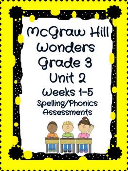 cGraw Hill Wonders Grade 3 Unit 2 weeks 1-5 Spelling/Phonics Quiz