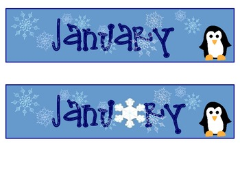 calendar month and days - January only